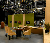 "The set of the TV series ""Check Please !"" at WTTW in Chicago. Shows a HDTV camera with fotoflo-ts in the background. fotoflo-t displays images without picture frames, glass, mattes, glare, or reflection. Images float off the wall or desk and are held in place with magnets. fotoflo-t can be used for photo display and to create photo collages, photo walls, diptychs and triptychs. fotoflo-ts can be created directly from images at Picasa, Kodak Gallery, SmugMug, Zenfolio, ACDSee and other online services."